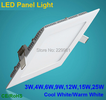 3W/4W/6W/9W/12W/15W/25W LED ceiling led downlight square/round panel light bulb AC85-265V Warm /Cool white,indoor lighting(China (Mainland))