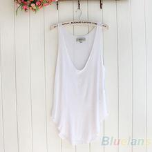 Women's Summer Trendy Loose Sleeveless V-Neck Vest Tank Tops Tee Shirt 5 Colors  1CY2(China (Mainland))