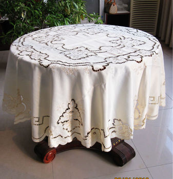175cm Round Cutworking  Embroidered  Tablecloth