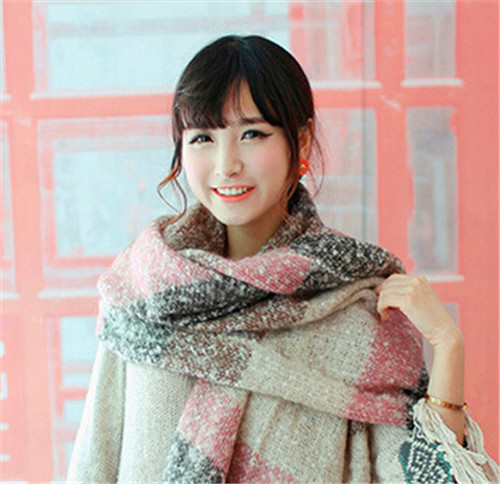 New Autumn/Winter Super-long Fashion Color Matching Scarf Loop Yarns Mohair Striped Scarf Shawl Soft Warm(China (Mainland))