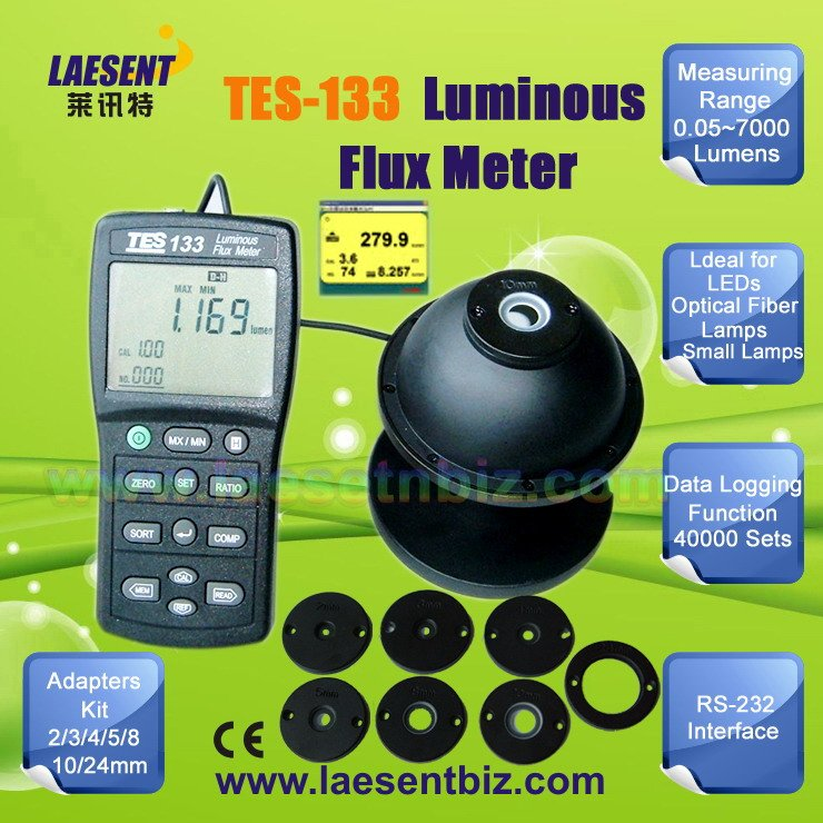 Handheld Luminous Flux Meter Light Tester Accurate and Instant Response Range 7000 Lumens RS232 TES-133(China (Mainland))