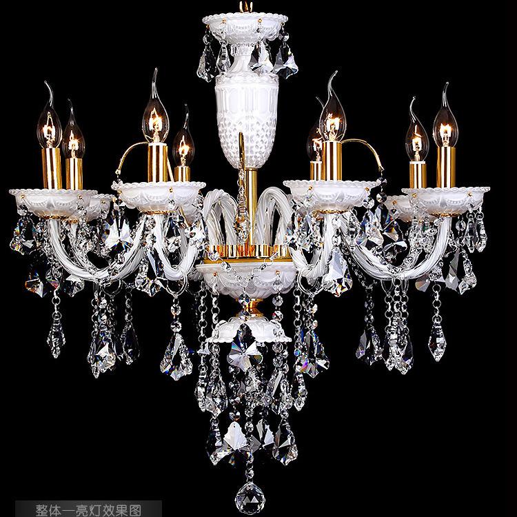 modern led chandelier modern minimalist white dwarf family of K9 crystal chandelier lamp living room dining KTV 646 droplight(China (Mainland))
