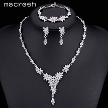 Mecresh Leaf Crystal Brides Jewelry Sets Silver Plated Rhinestone Necklace Sets Wedding Jewelry for Women MTL433+MSL204(China (Mainland))