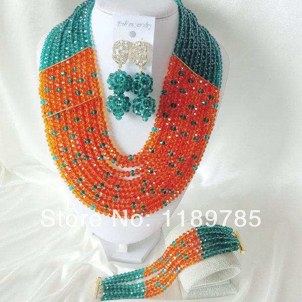 Fashion Nigerian African Wedding Beads Jewelry Set , Crystal Necklace Bracelet Earrings Set A-1470<br><br>Aliexpress