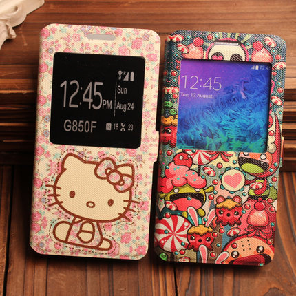 for Samsung Galaxy Alpha G850F G850A,Cute Cartoon Pattern Leather with Card Holder Hello Kitty/little deer/Cat/Bow Window Cover(China (Mainland))