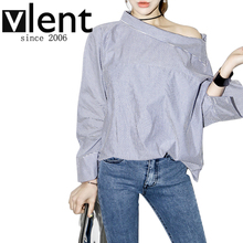 Vlent 2016 Summer Sexy Women Slash Neck  Off Shoulder Femina Side Buttons Long Flare Sleeve Striped Blouses Shirt Tops RD1460(China (Mainland))