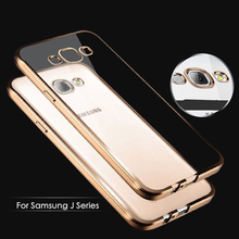 Luxury Coque Samsung galaxy j5 Case Clear Transparent Gold Plating Soft TPU Cover case samsung j 5 j500 J7 J700 2015 - MaxGear official Store store