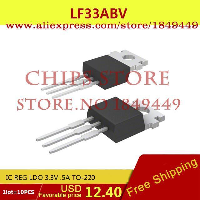 Free Shipping Integrated Circuits Types LF33ABV IC REG LDO 3.3V .5A TO-220 LF33 33A 10pcs