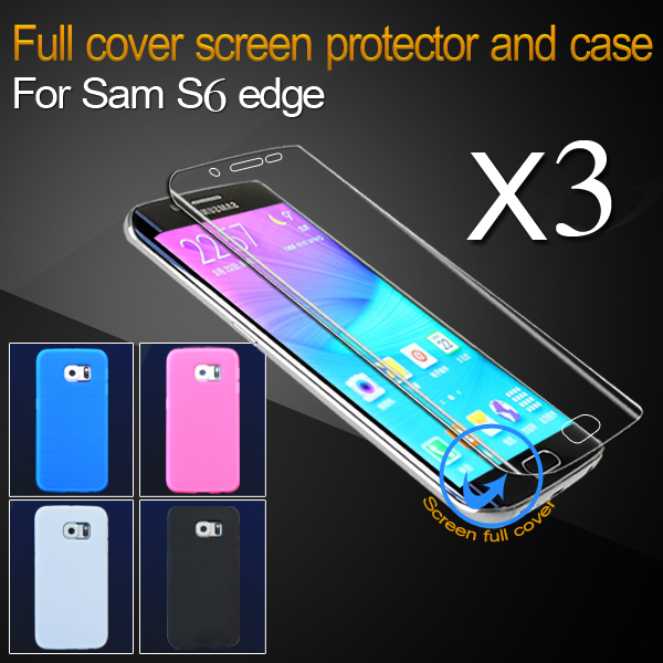 Super Slim TPU Case For Samsung Galaxy S6 Edge Colorful Cover Silicone Sending 3pc Full Screen Protector for Samsung G9250(China (Mainland))