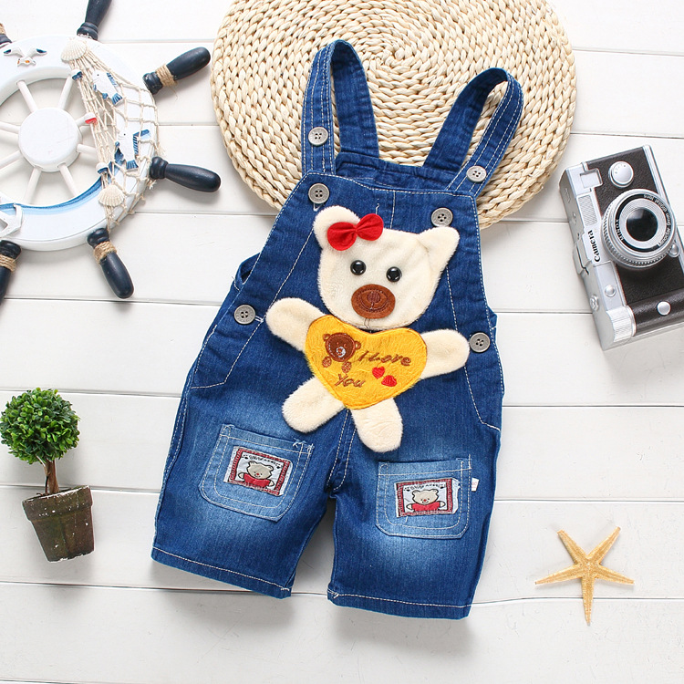 Free shipping Children summer overalls Cartoon denim shorts newborn baby jeans jumpsuits Can open file#Z1651(China (Mainland))