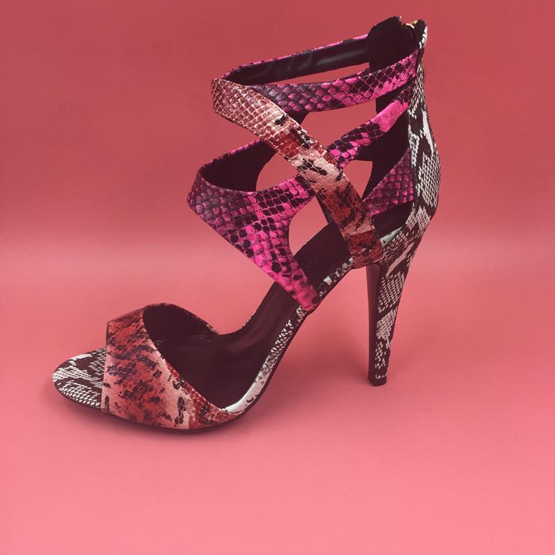 Snakeskin Real Image Sandalias Mujer 2016 Custom Made Zipper Spike Heels Womens Sandals Summer Style Designer Shoes Women Luxury