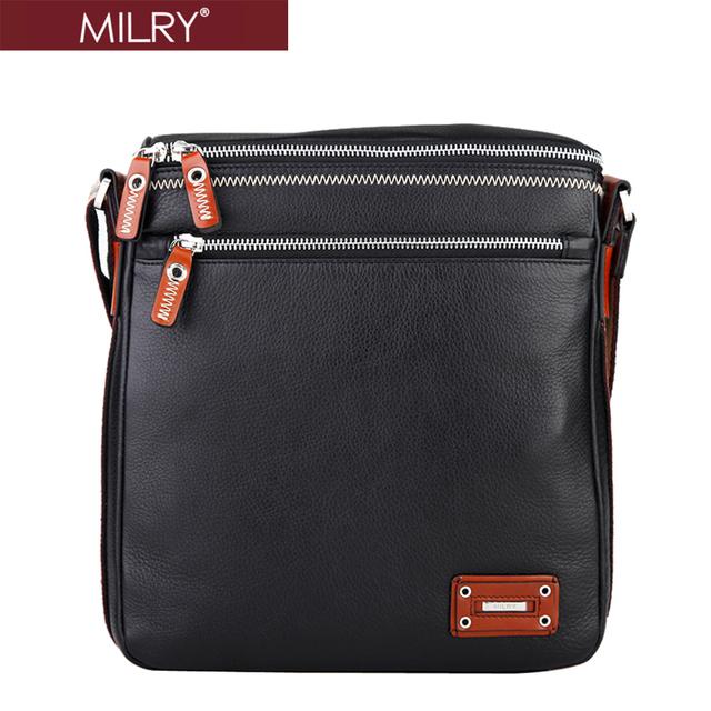 Brand  MILRY 100% Genuine Leather shoulder Bag for Men messenger bag cross body Black real cowhide quality men bag S0067-1