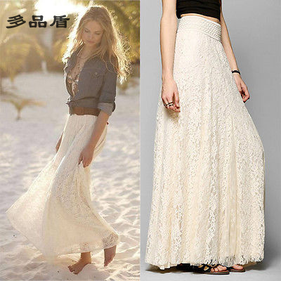 White Beige S-XL Women Lace Cotton Layered Hitched Maxi Skirt A Line Gypsy Boho Long Asymmetric Summer(China (Mainland))