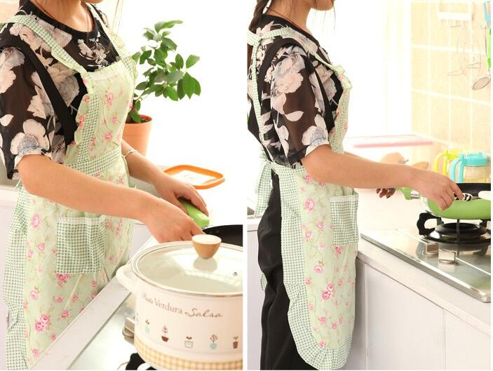 Fashion Floral Pattern Household Woman Aprons Cleaning Oilproof Antifouling Sleevess Aiguillette Apron Pinafores Kitchen(China (Mainland))