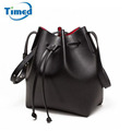 Black Drawstrings Bucket Bags For Women 2016 New High Quality PU Leather Messenger Bags Fashion Shoulder