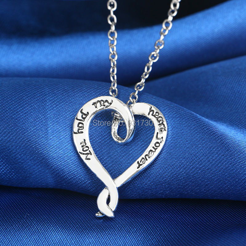 "New Design Eternal Love Necklace Silver Plated Heart Pendant Jewelry Custom Name Necklace ""You Hold My Heart Forever""(China (Mainland))"