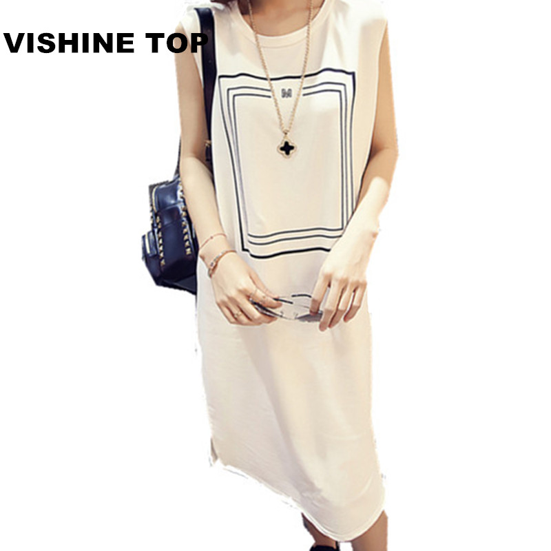 2016 summer new Korean yards long section of loose O-neck sleeveless printed checkered casual fashion solid color women dress(China (Mainland))