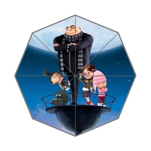 2015 Newest Flouncing Folding Dome Parasol Sun/Rain Women Lady Umbrella Print Cute Cartoon Despicable me Sunny Umbrella(China (Mainland))