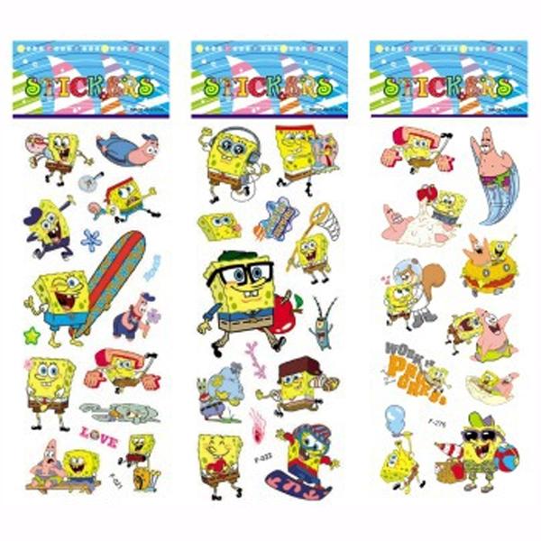 3 Sheets/set SpongeBob stickers for kids Home decor Diary Notebook Label Decoration toy 3D cartoon sticker<br><br>Aliexpress