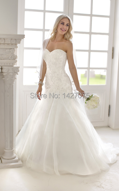 2014 new sweetheart neckline drop waist lace tulle skirt for Sweetheart neckline drop waist wedding dress