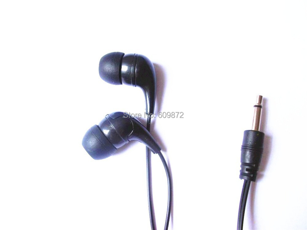 Disposable mono earphones cheap earbud widely use in hospitals, airlines, prisons, 1.8M cord, 5pcs/lot(China (Mainland))