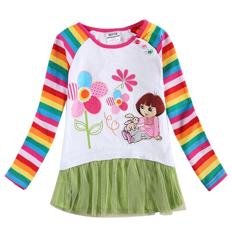5PCS/LOTS nova kids wholesale kids t shirts wear Dora girls t shirts hot selling autumn/spring long sleeve t shirts kids wear(China (Mainland))