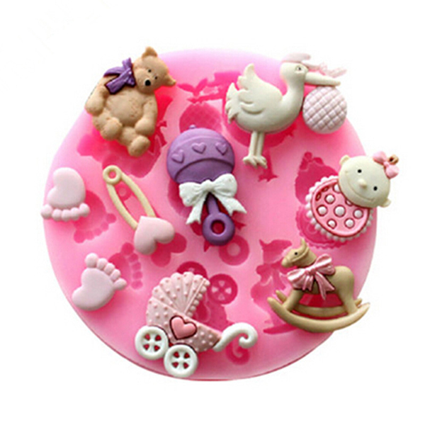 3D Food Candy Silicone Baby Bear Foot Birds Shape Fondant soap mold chocolate silicone babies for sale bakeware(China (Mainland))