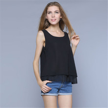 L~4XL Summer 2016 New Tops Tees Shirt Women Small Slim Vest Ruffles Chiffon Blouse Sleeveless Blouses Plus Size Top QH254