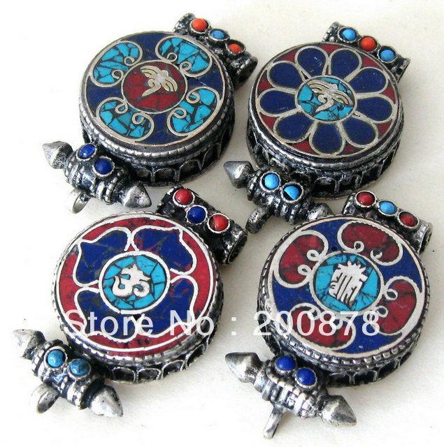 TGB160 Tibetan Buddha Eye Mantras Amulet Prayer Box,44X29mm,Tibet Metal Copper Gau Case Pendants<br><br>Aliexpress
