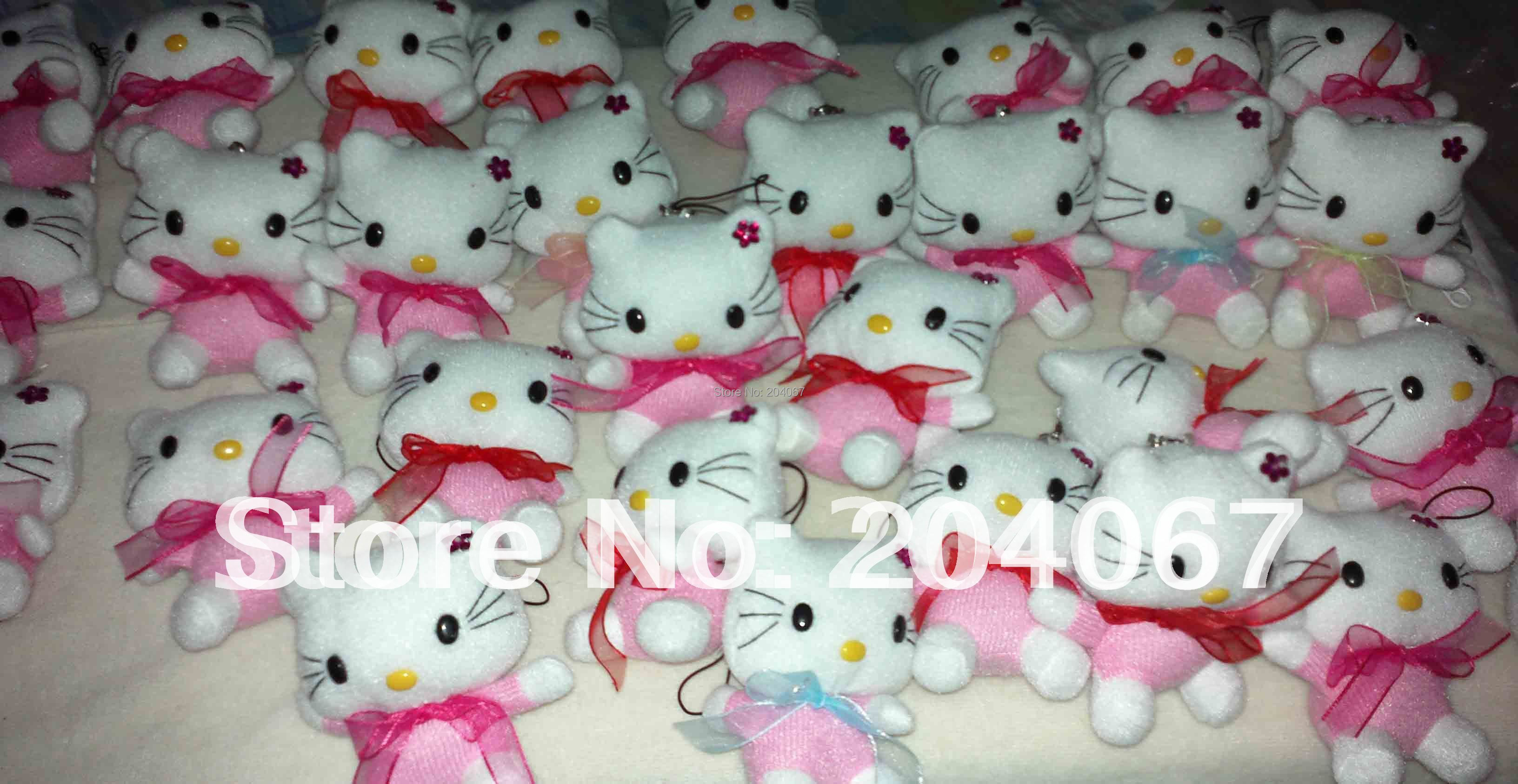 Hello Kitty Toys Small Pendant PPT Cotton MINI Phone Decoration Toys Hot Sale 7CM 30PC/Lot(China (Mainland))