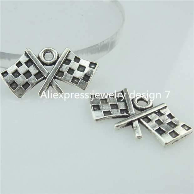 Free Shipping 14624 40PC Alloy Antique Silver Vintage Flag Banner font b Chequered b font Flag