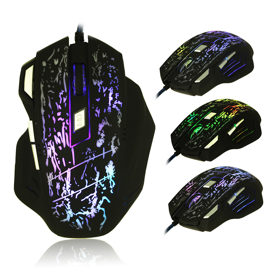 2016 New 5500DPI 7 Buttons 7 colors LED Optical USB Wired Mouse Gamer Mice computer mouse Gaming Mouse For Pro Gamer(China (Mainland))