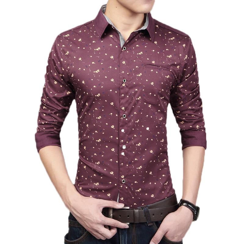 Men 39 S Turn Down Collar Dress Shirt Slim Fit Polka Dots