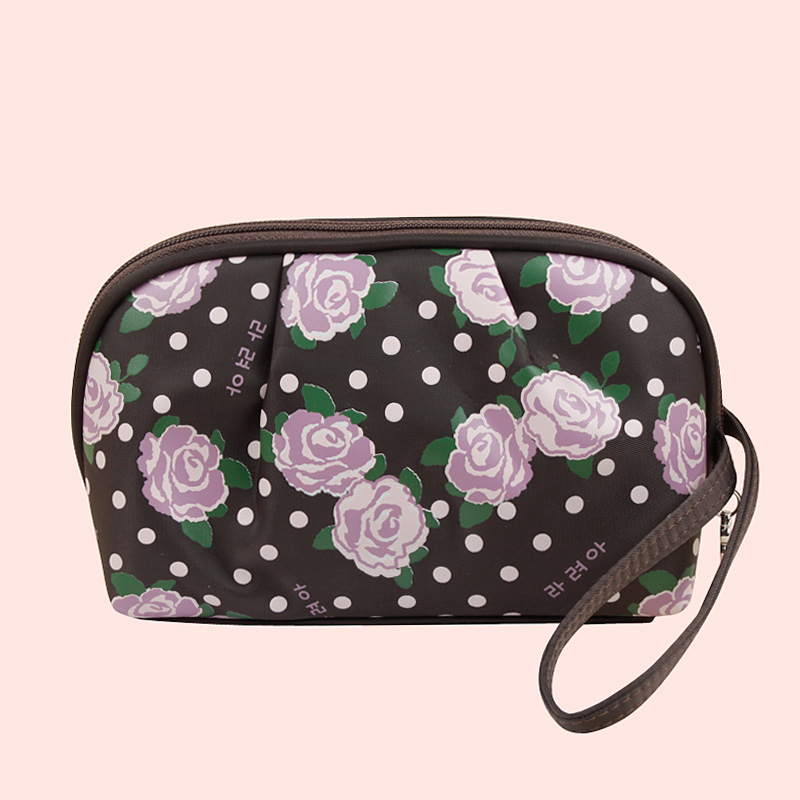 2015 Free shipping new fashion high quality brown Rose lovely ladies Waterproof cosmetic bag(China (Mainland))