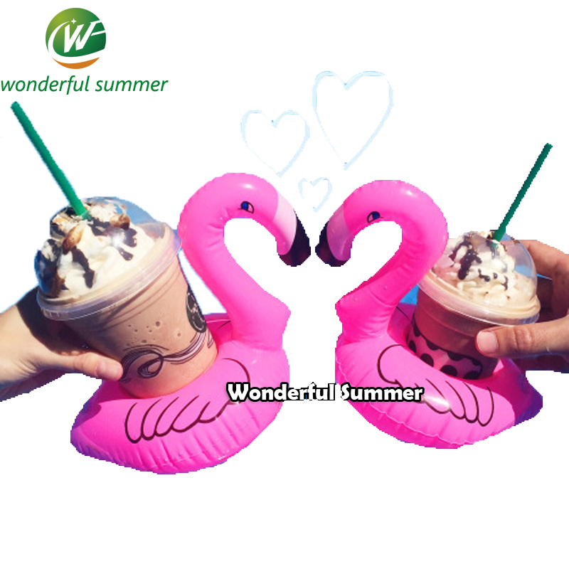 Wholesale Mini Cute Pink Flamingo Drink Holder PVC Inflatable Floats Swimming Pool Beach Party Kids Adult Swim Beverage Holders(China (Mainland))