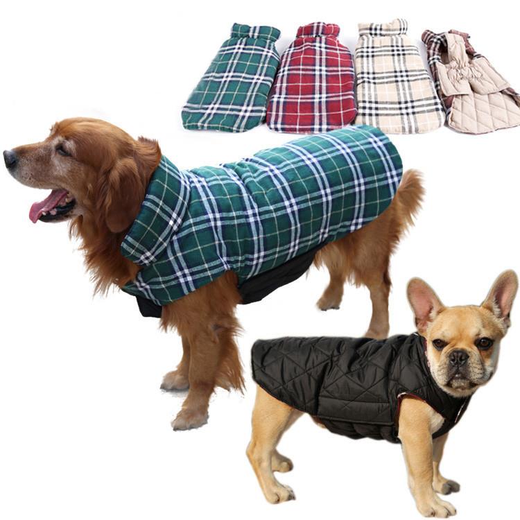 2016 Waterproof Reversible Dog Jacket Designer Warm Plaid Winter Dog Coats Pet Clothes Elastic Small to Large Dog Clothes Winter(China (Mainland))