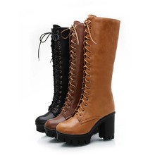 Black Yellow Big Size 34-43 Lace Up Mid Calf Women Boots