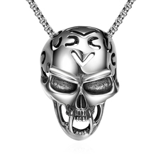 Scorching sale 925 pure sterling silver jewelry Skull pendant necklace ship male good buddy constructive fashion reward product sales promotion YN023