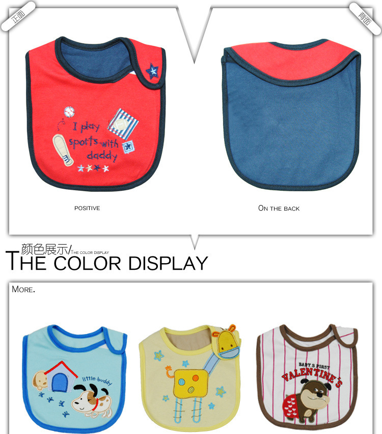 Free shipping 30 pcs/lot Promotion Animal baby cotton bibs with velcro Cartoon Animal Waterproof bibs baby Saliva towel(China (Mainland))