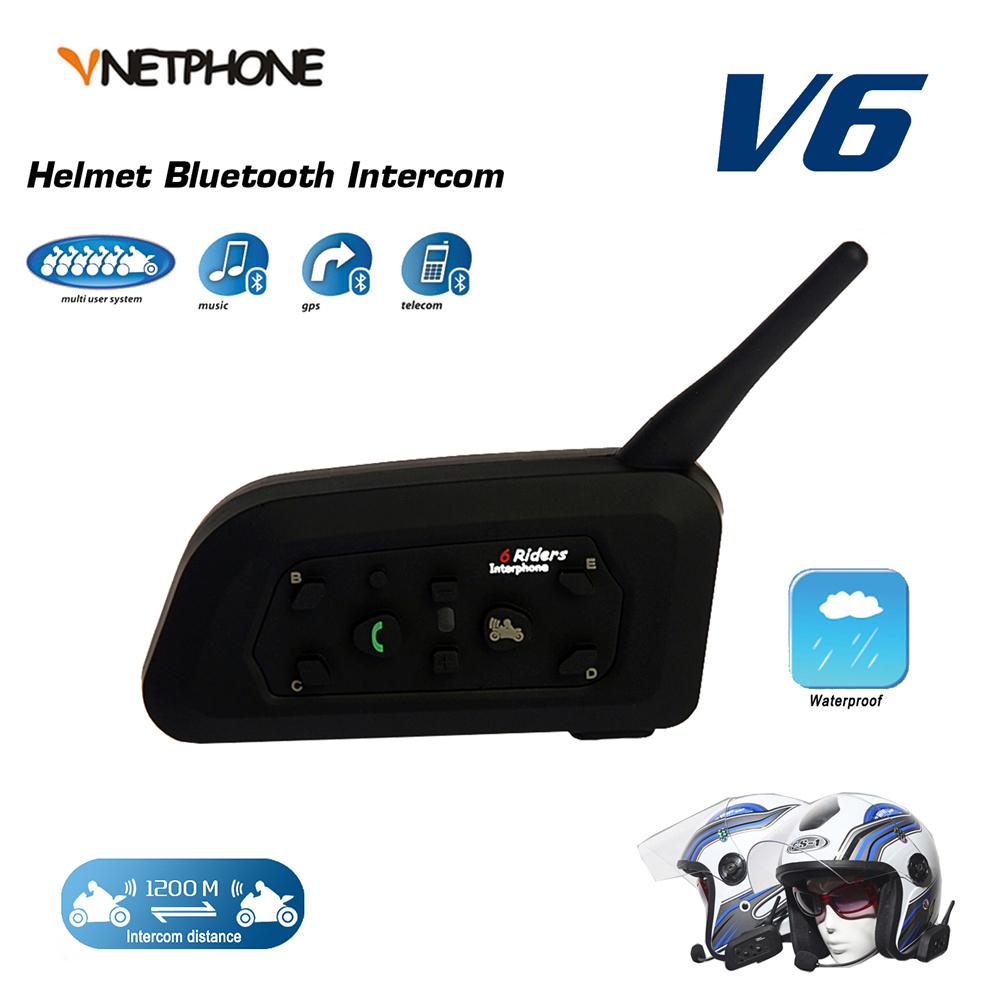 VNETPHONE 1200M BT Bluetooth Motorcycle Helmet Intercom 6 Riders Full Duplex Wireless Bluetooth Communication Interphone Headset(China (Mainland))