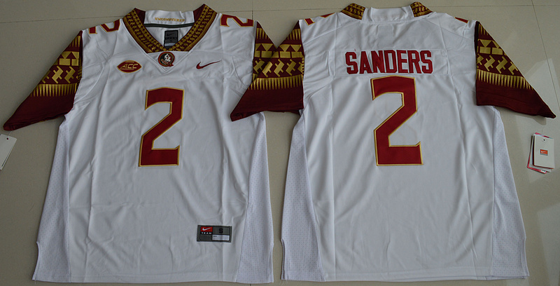 New Arrival High Quality Nike 2016 Florida State Seminoles Deion Sanders 2 College T-shirt Limited Jersey - White Size S,M,L,(China (Mainland))