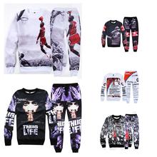 Fashion Men's hoodies sweatshirts for Jordan print 3d Sweatshirt hip hop outdoor hoodies men clothing set hoody + pants 2 piece(China (Mainland))