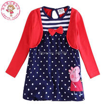 girl cotton dress pig long sleeve false two pieces dot stripe bow stripe princess dress