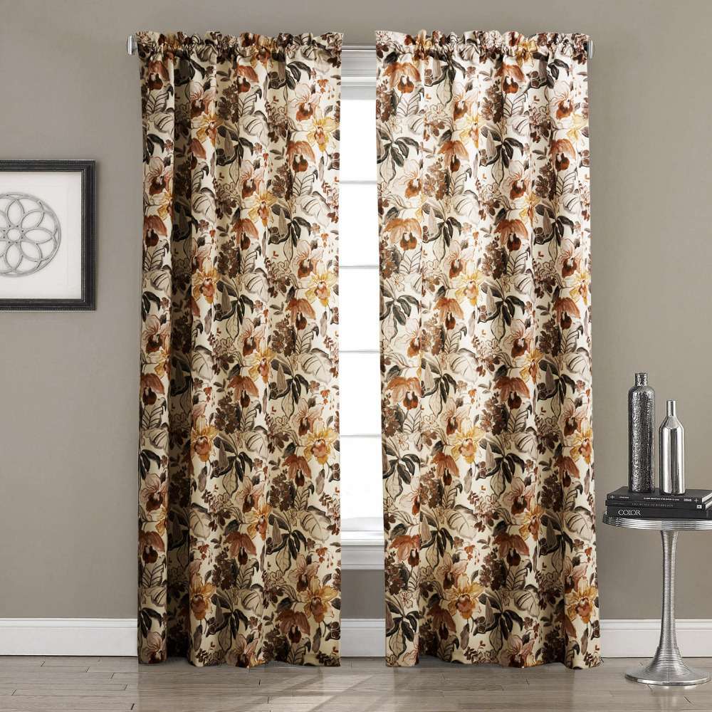 TWOPAGES(One Panel ) Window Curtains for the Living Room Rod Pocket Country Ink Painting Style Blossoms Floral Curtains Drapes(China (Mainland))
