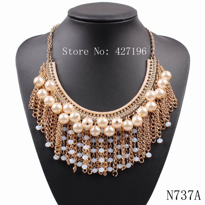 2016 new arrival design fashion pearl chain necklace designs bridal statement necklace for women party jewelry(China (Mainland))