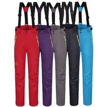 Зима руно теплые непромокаемые дышащие лыжные брюки для женщин с двойным слоем катание на лыжах цвета женские спортивные брюки