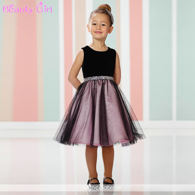 New Arrival Short Sleeveless Tulle Flower Girl Dresses With Beads 2016 Little Girls Evening Gowns(China (Mainland))
