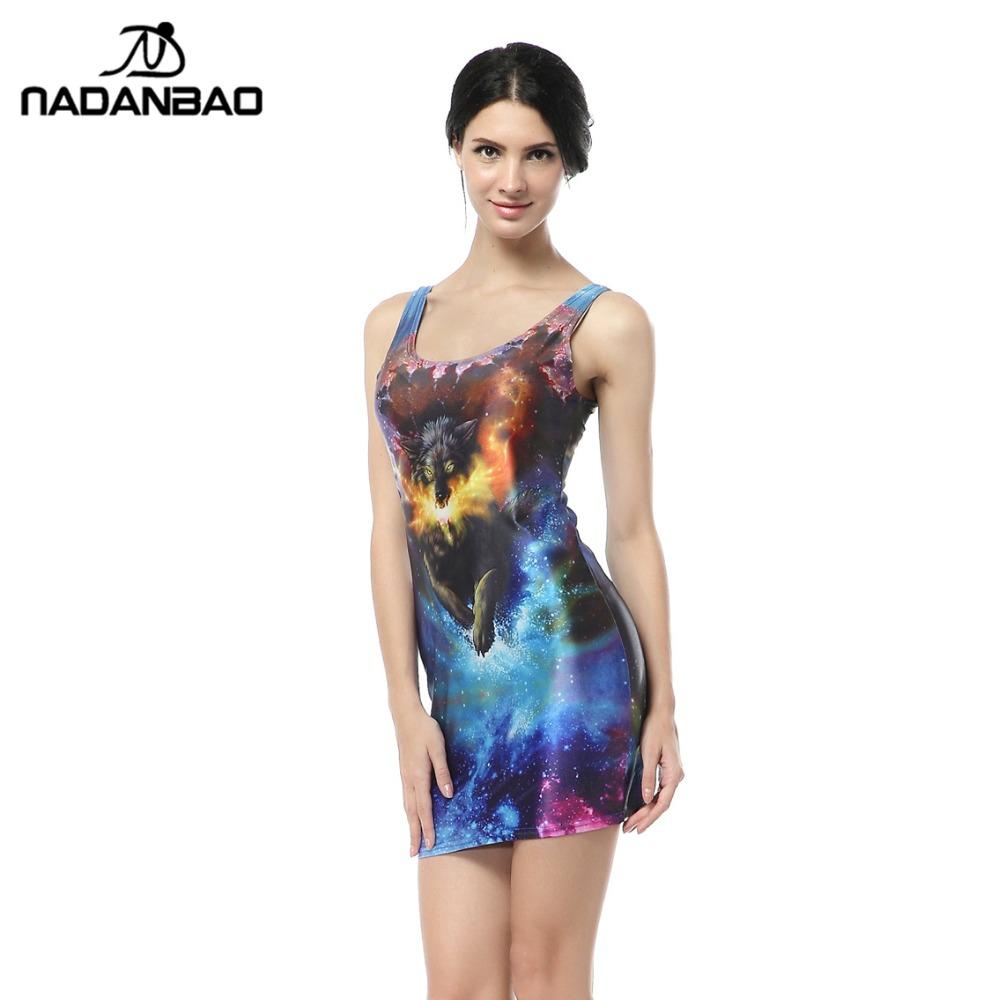 bandage dresses Fire Fox Dress Animal Digital Print Mini Bodycon Women Summer Sexy Clothing for Party Club TTQ1022(China (Mainland))