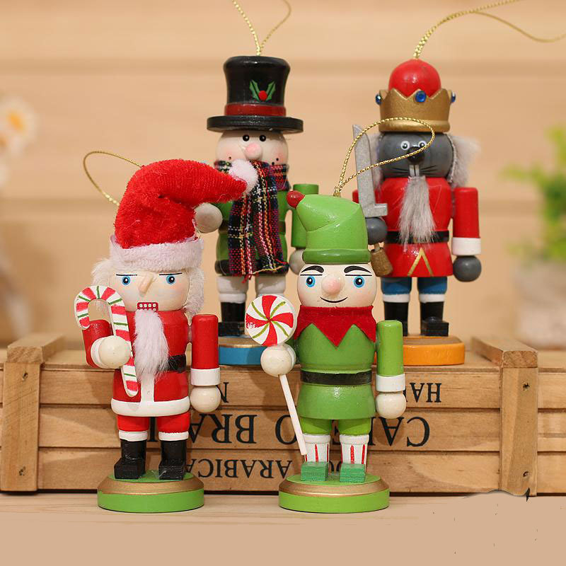 4psc/Set Christmas Nutcracker Soldier Christmas Decoration Santa Claus Doll wooden nutcracker ornaments Best New Year Gifts(China (Mainland))