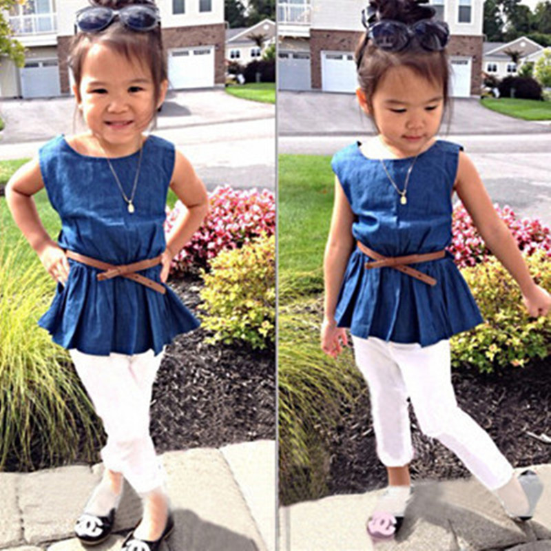 children sets girls fashion 0-neck collar cotton sleeveless pullover 2-4 4-7years old Denim clothing pants white summer style(China (Mainland))